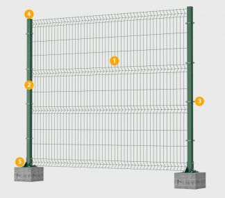 Забор из сварной сетки с столбами и крепежом цена за 1м.п.