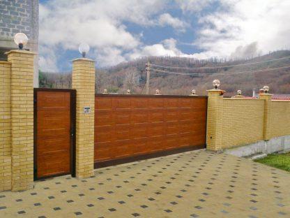 Уличные откатные ворота Дорхан 4500*2300 Филенка золотой дуб
